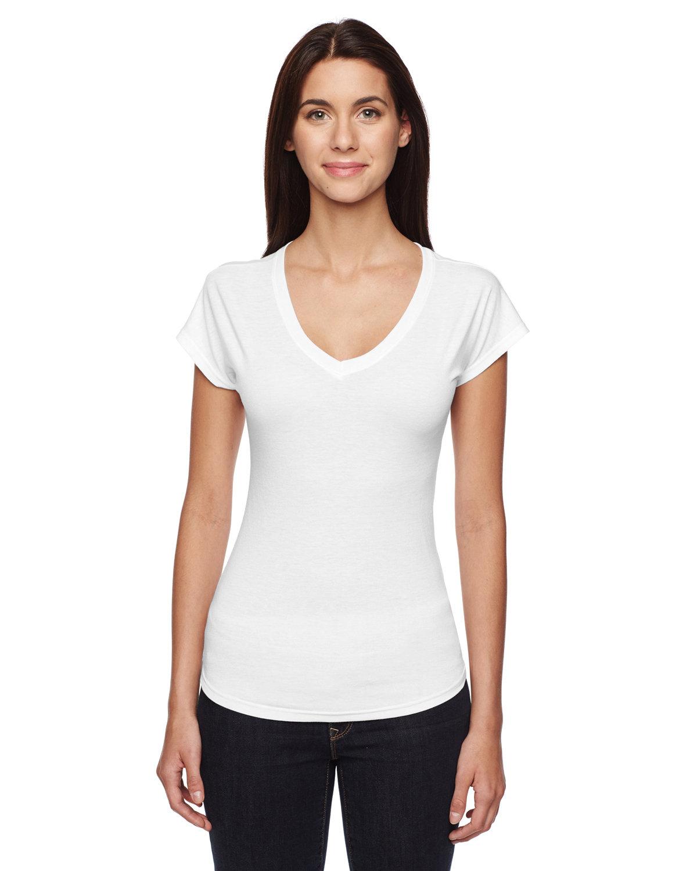 Anvil Ladies' Triblend V-Neck T-Shirt WHITE