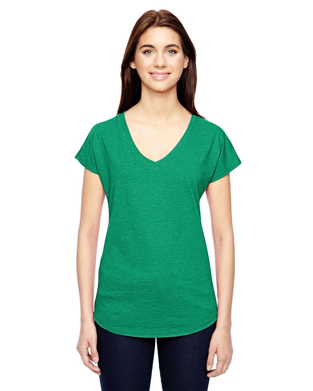 Anvil Ladies' Triblend V-Neck T-Shirt HEATHER GREEN