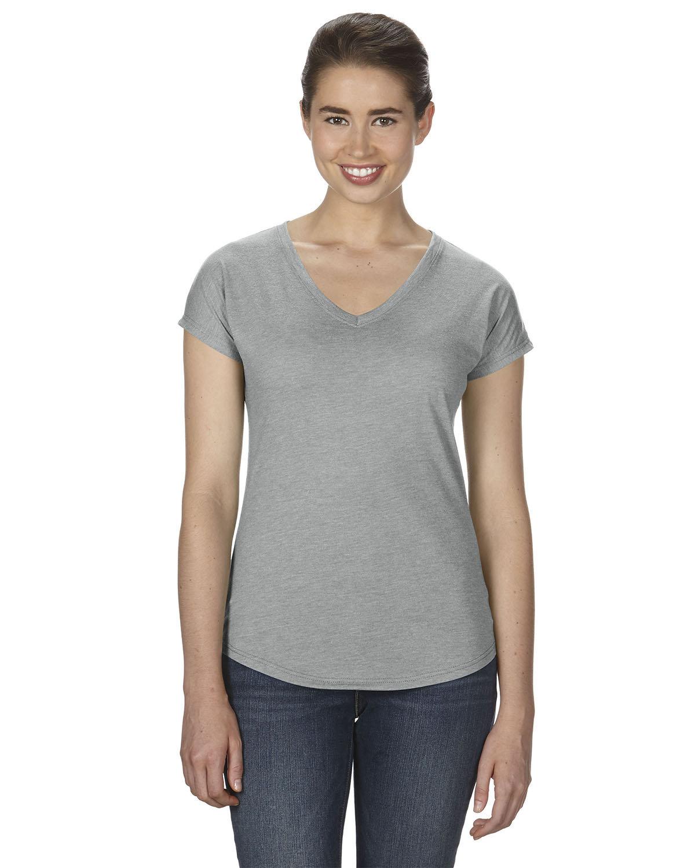 Anvil Ladies' Triblend V-Neck T-Shirt HEATHER GREY