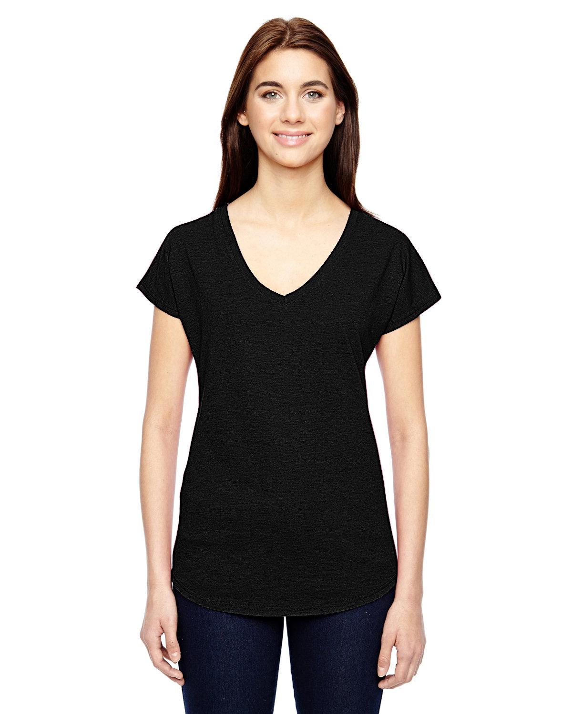 Anvil Ladies' Triblend V-Neck T-Shirt BLACK