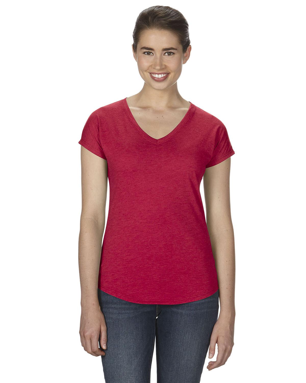 Anvil Ladies' Triblend V-Neck T-Shirt HEATHER RED