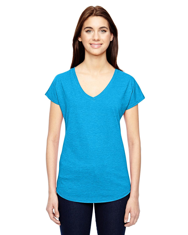 Anvil Ladies' Triblend V-Neck T-Shirt HTHR CARIB BLUE