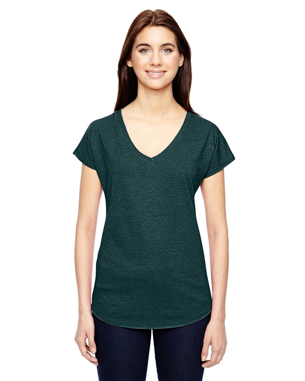 Anvil Ladies' Triblend V-Neck T-Shirt HTH DARK GREEN