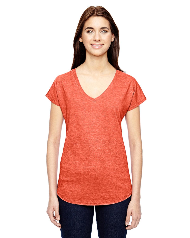 Anvil Ladies' Triblend V-Neck T-Shirt HEATHER ORANGE