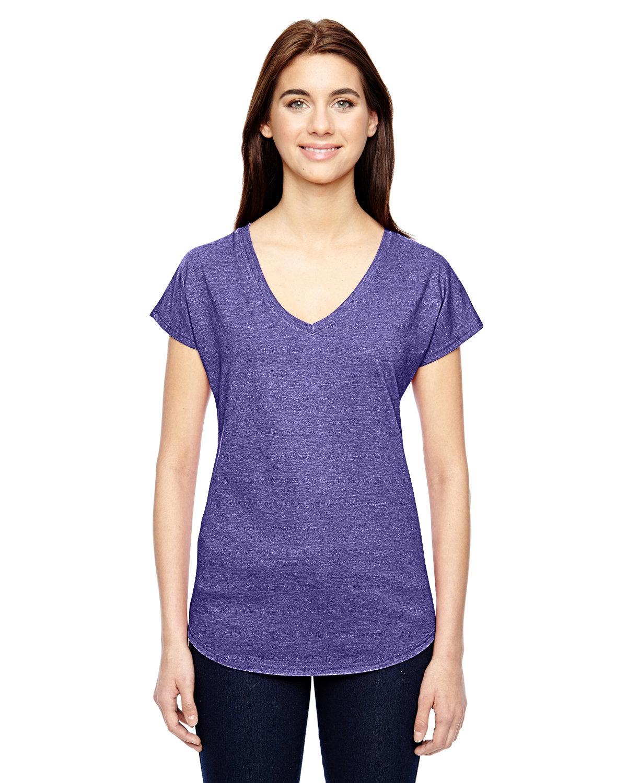 Anvil Ladies' Triblend V-Neck T-Shirt HEATHER PURPLE