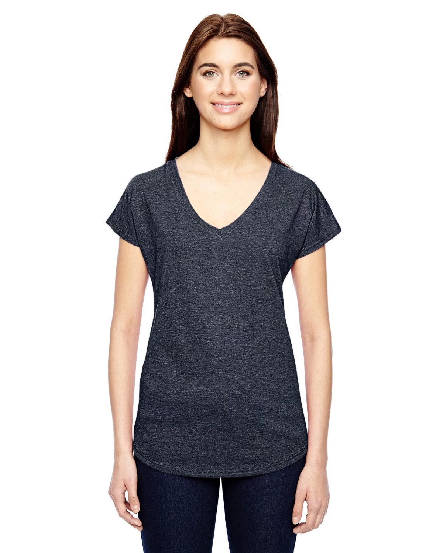 Anvil Ladies' Triblend V-Neck T-Shirt HEATHER NAVY