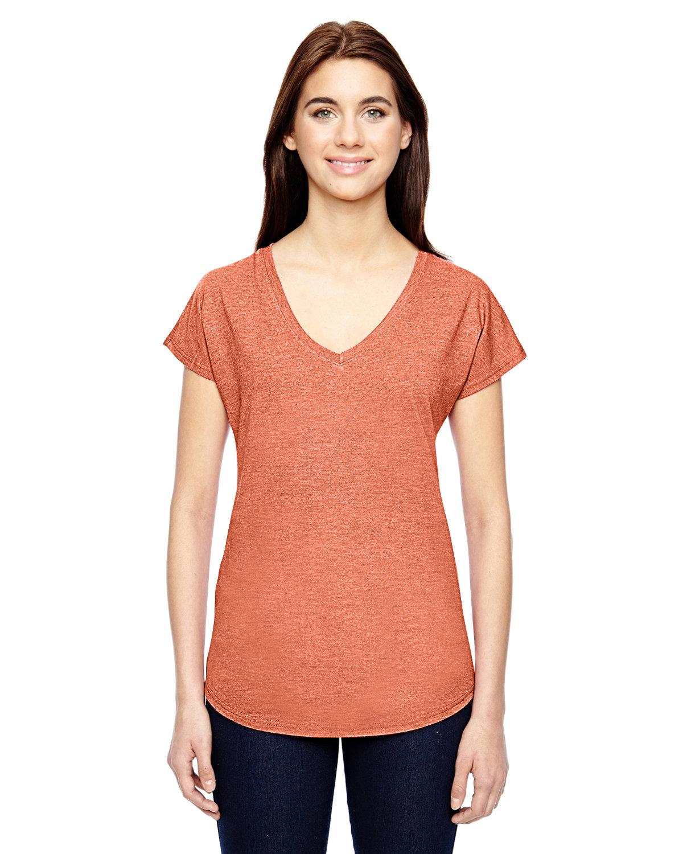 Anvil Ladies' Triblend V-Neck T-Shirt HEATHER BRONZE