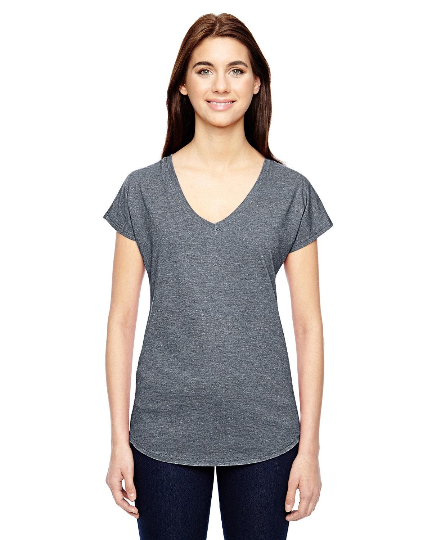 Anvil Ladies' Triblend V-Neck T-Shirt HEATHER GRAPHITE