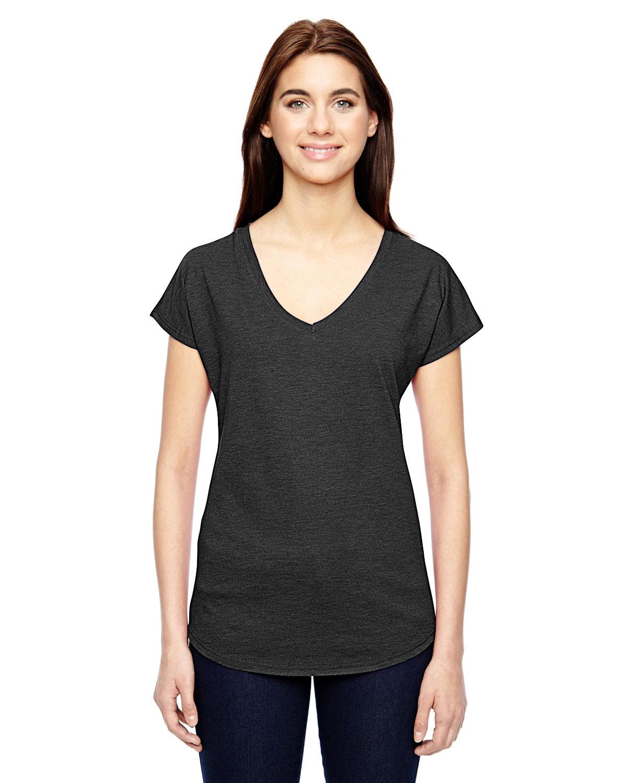 Anvil Ladies' Triblend V-Neck T-Shirt HEATHER DK GREY