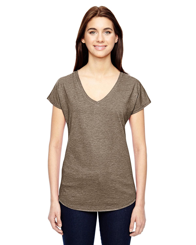 Anvil Ladies' Triblend V-Neck T-Shirt HEATHER SLATE