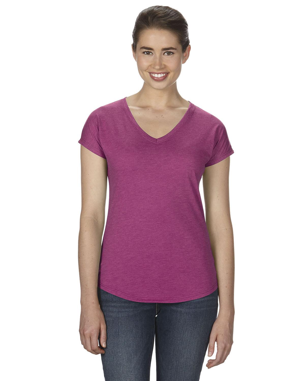 Anvil Ladies' Triblend V-Neck T-Shirt HEATHER RASPBRRY