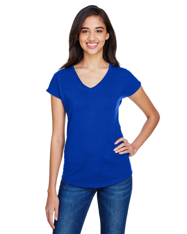 Anvil Ladies' Triblend V-Neck T-Shirt ATLANTIC BLUE