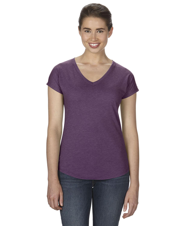 Anvil Ladies' Triblend V-Neck T-Shirt HTH AUBERGINE