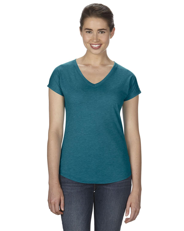Anvil Ladies' Triblend V-Neck T-Shirt HTH GALAP BLUE
