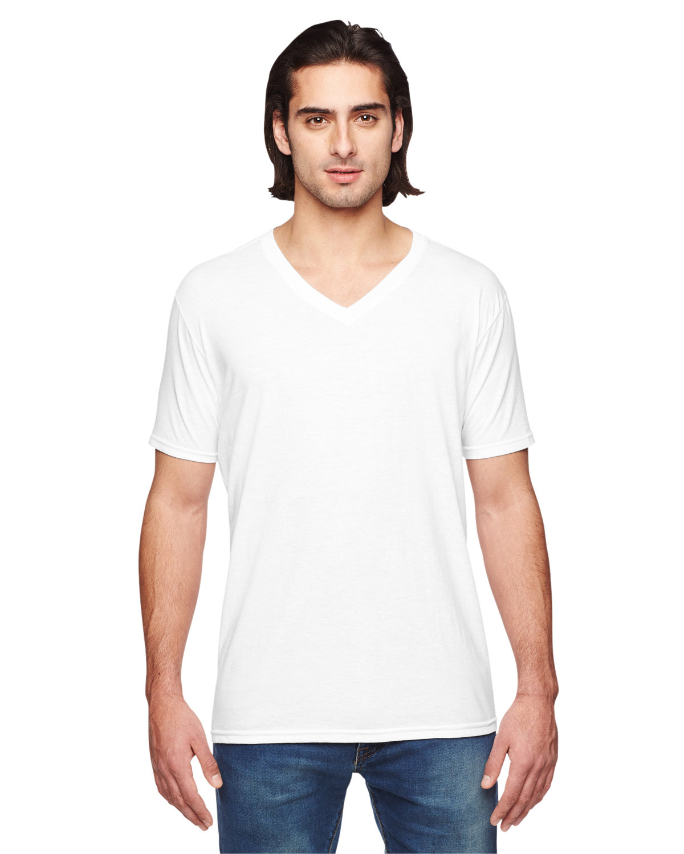 Anvil Adult Triblend V-Neck T-Shirt WHITE