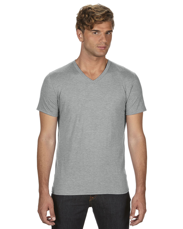 Anvil Adult Triblend V-Neck T-Shirt HEATHER GREY