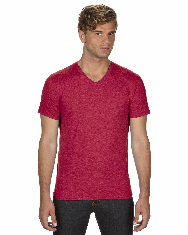 Anvil Adult Triblend V-Neck T-Shirt HEATHER RED