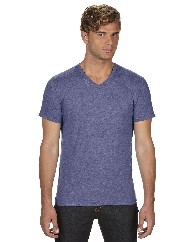 Anvil Adult Triblend V-Neck T-Shirt HEATHER BLUE
