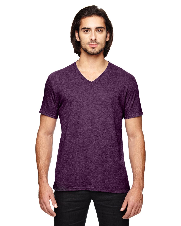 Anvil Adult Triblend V-Neck T-Shirt HTH AUBERGINE