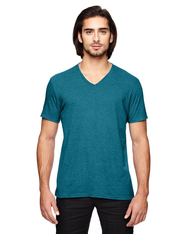 Anvil Adult Triblend V-Neck T-Shirt HTH GALOP BLUE