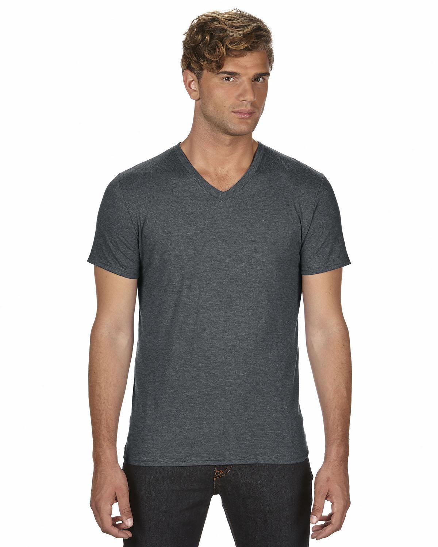 Anvil Adult Triblend V-Neck T-Shirt HTH DARK GREY