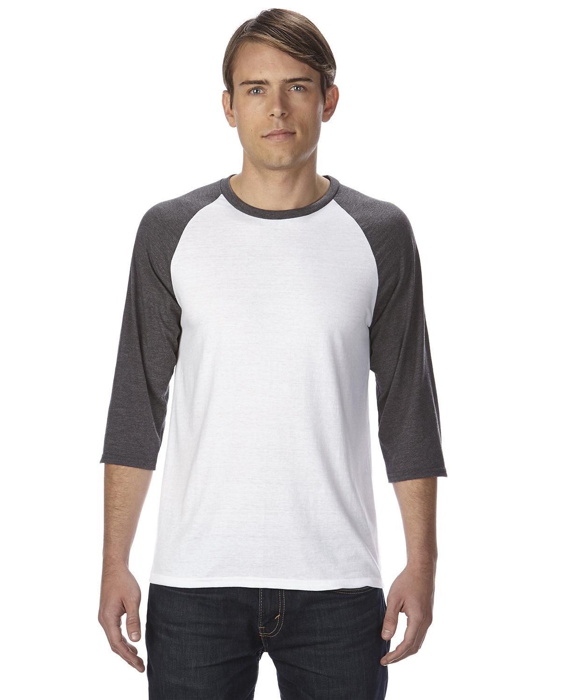 Anvil Adult Triblend 3/4-Sleeve Raglan T-Shirt WHT/ TR H DK GRY