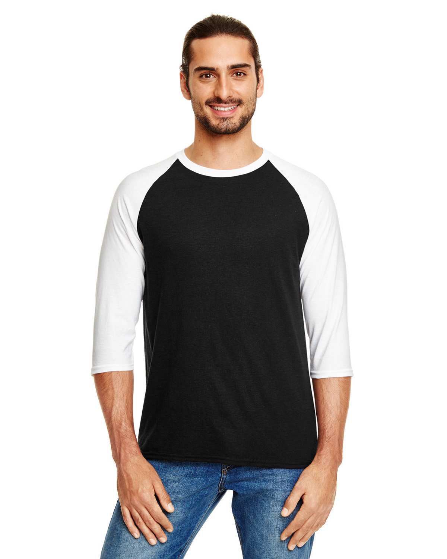 Anvil Adult Triblend 3/4-Sleeve Raglan T-Shirt BLACK/ WHITE
