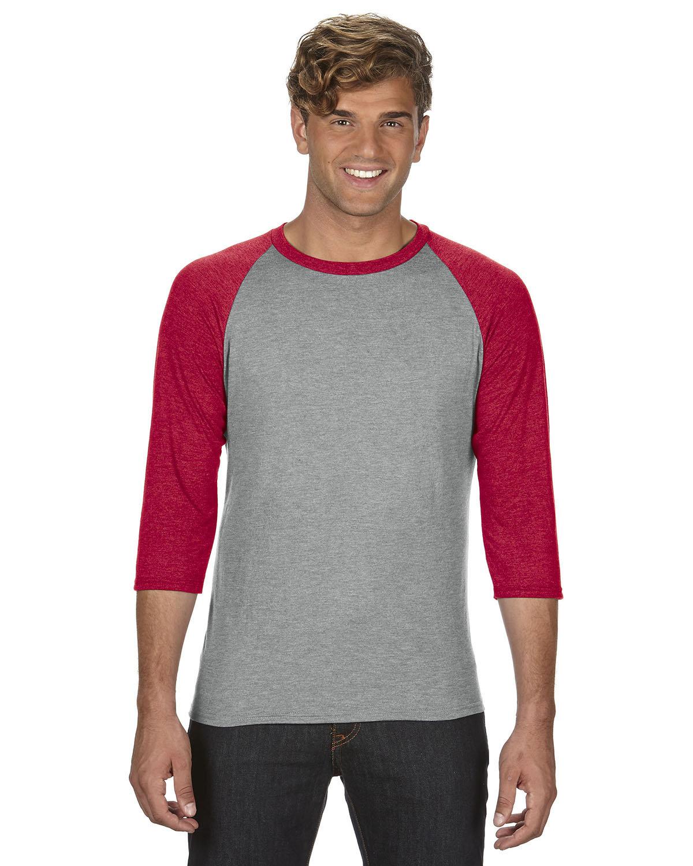 Anvil Adult Triblend 3/4-Sleeve Raglan T-Shirt HTH GR/ TR H RED