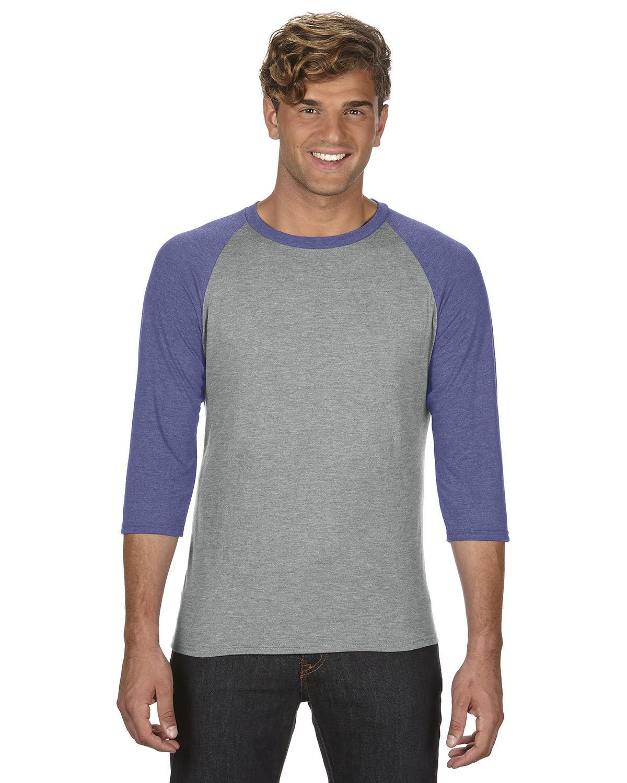 Anvil Adult Triblend 3/4-Sleeve Raglan T-Shirt HTH GR/ TR HBLUE