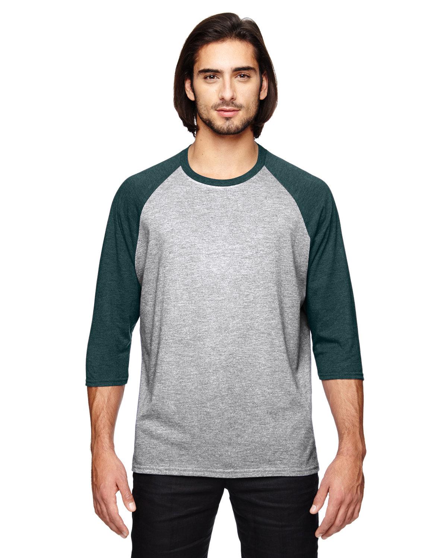 Anvil Adult Triblend 3/4-Sleeve Raglan T-Shirt HT GY/ HT DK GRN
