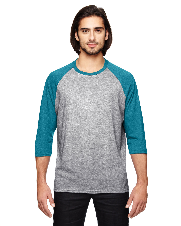 Anvil Adult Triblend 3/4-Sleeve Raglan T-Shirt HTH GR/ HTH GBLU