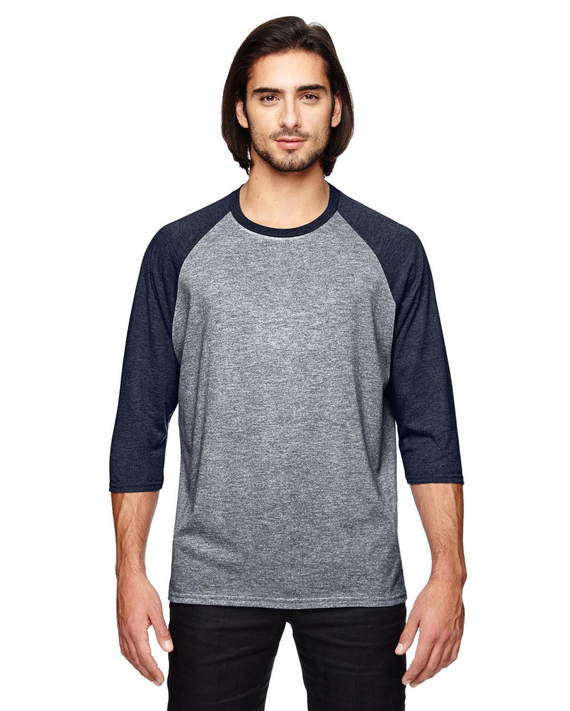 Anvil Adult Triblend 3/4-Sleeve Raglan T-Shirt HTH GRY/ HTH NVY