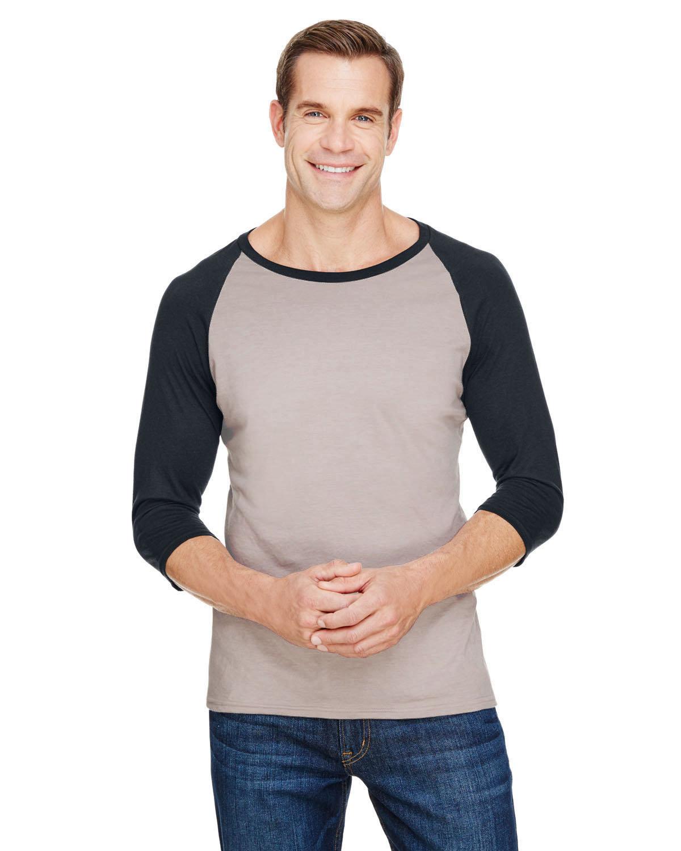 Anvil Adult Triblend 3/4-Sleeve Raglan T-Shirt HTHR SLATE/ BLK