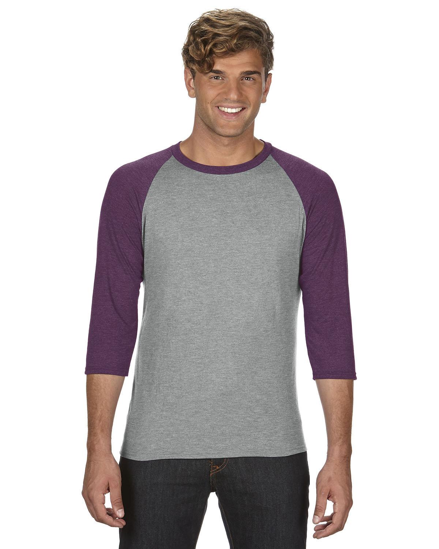 Anvil Adult Triblend 3/4-Sleeve Raglan T-Shirt HTH GR/ TR H AU