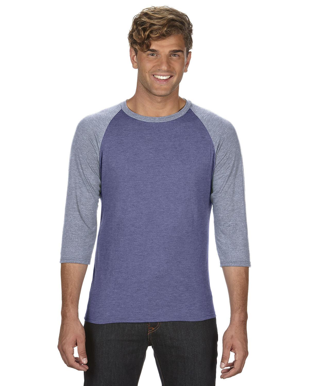 Anvil Adult Triblend 3/4-Sleeve Raglan T-Shirt HTH BL/ TR H GRY