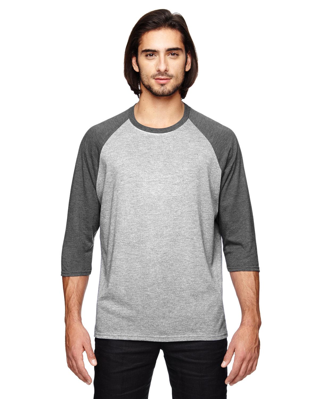 Anvil Adult Triblend 3/4-Sleeve Raglan T-Shirt HT GR/ HT DK GRY