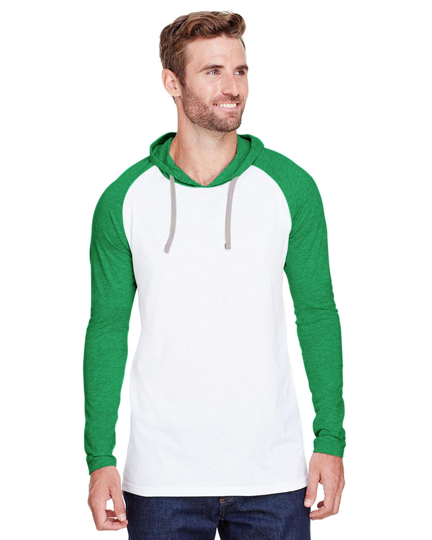 LAT Men's Hooded Raglan Long Sleeve Fine Jersey T-Shirt B WH/ VN GR/ TTN