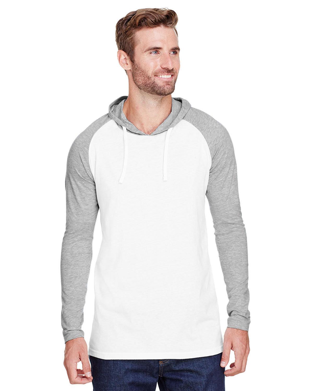 LAT Men's Hooded Raglan Long Sleeve Fine Jersey T-Shirt B WH/ VN HTH/ WH