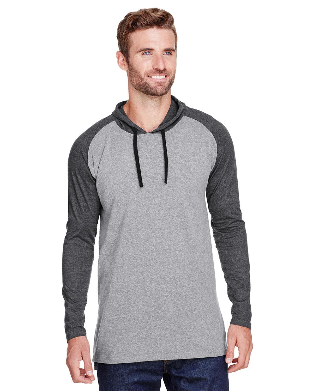 LAT Men's Hooded Raglan Long Sleeve Fine Jersey T-Shirt GRN HT/ V SMK/BK