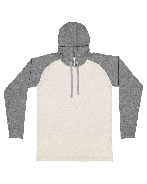 LAT Men's Hooded Raglan Long Sleeve Fine Jersey T-Shirt NT HT/ GR HT/ TT