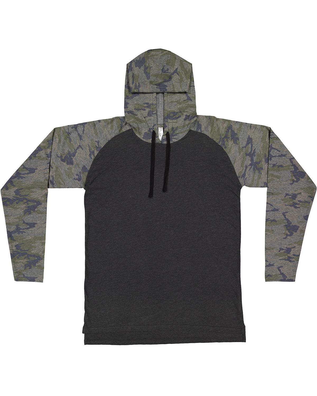 LAT Men's Hooded Raglan Long Sleeve Fine Jersey T-Shirt V SMK/ V CMO/ BK