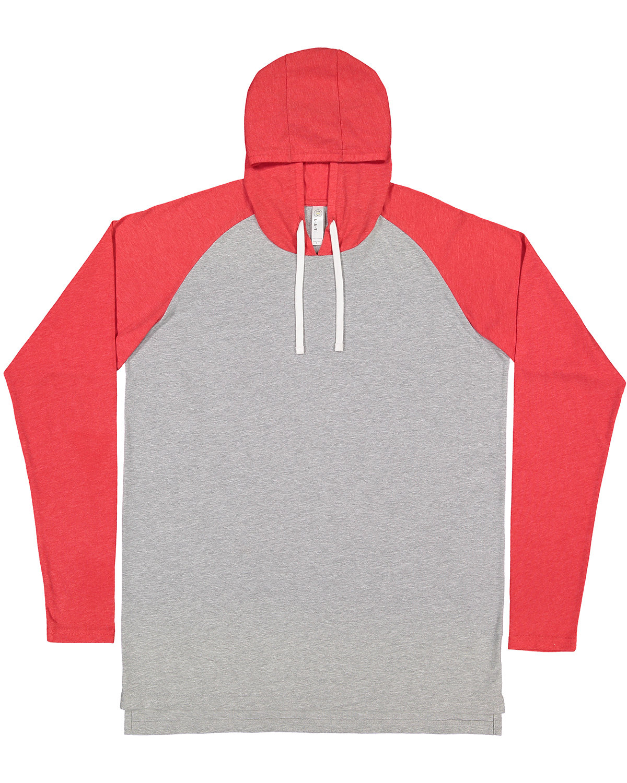 LAT Men's Hooded Raglan Long Sleeve Fine Jersey T-Shirt VN HTH/ VN RD/ W