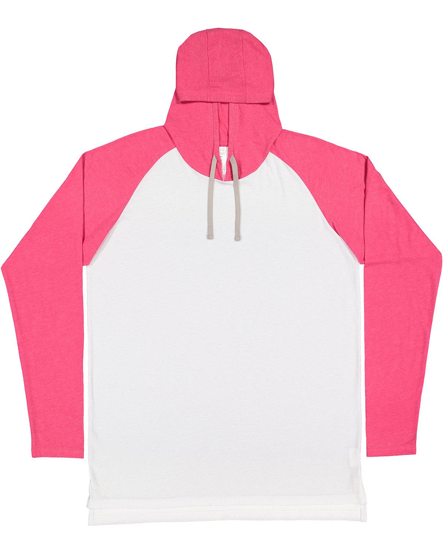 LAT Men's Hooded Raglan Long Sleeve Fine Jersey T-Shirt B WH/ V H PK/ TT