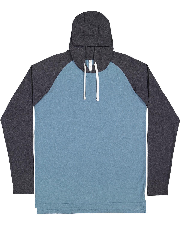 LAT Men's Hooded Raglan Long Sleeve Fine Jersey T-Shirt VN IND/ V NV/ WH