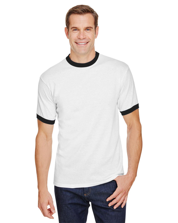 Augusta Drop Ship Adult Ringer T-Shirt WHITE/ BLACK
