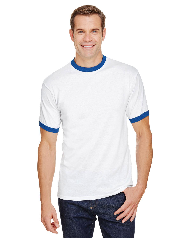 Augusta Drop Ship Adult Ringer T-Shirt WHITE/ ROYAL