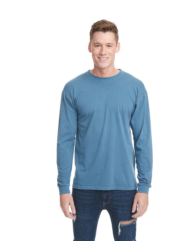 Next Level Adult Inspired Dye Long-Sleeve Crew BLUE JEAN