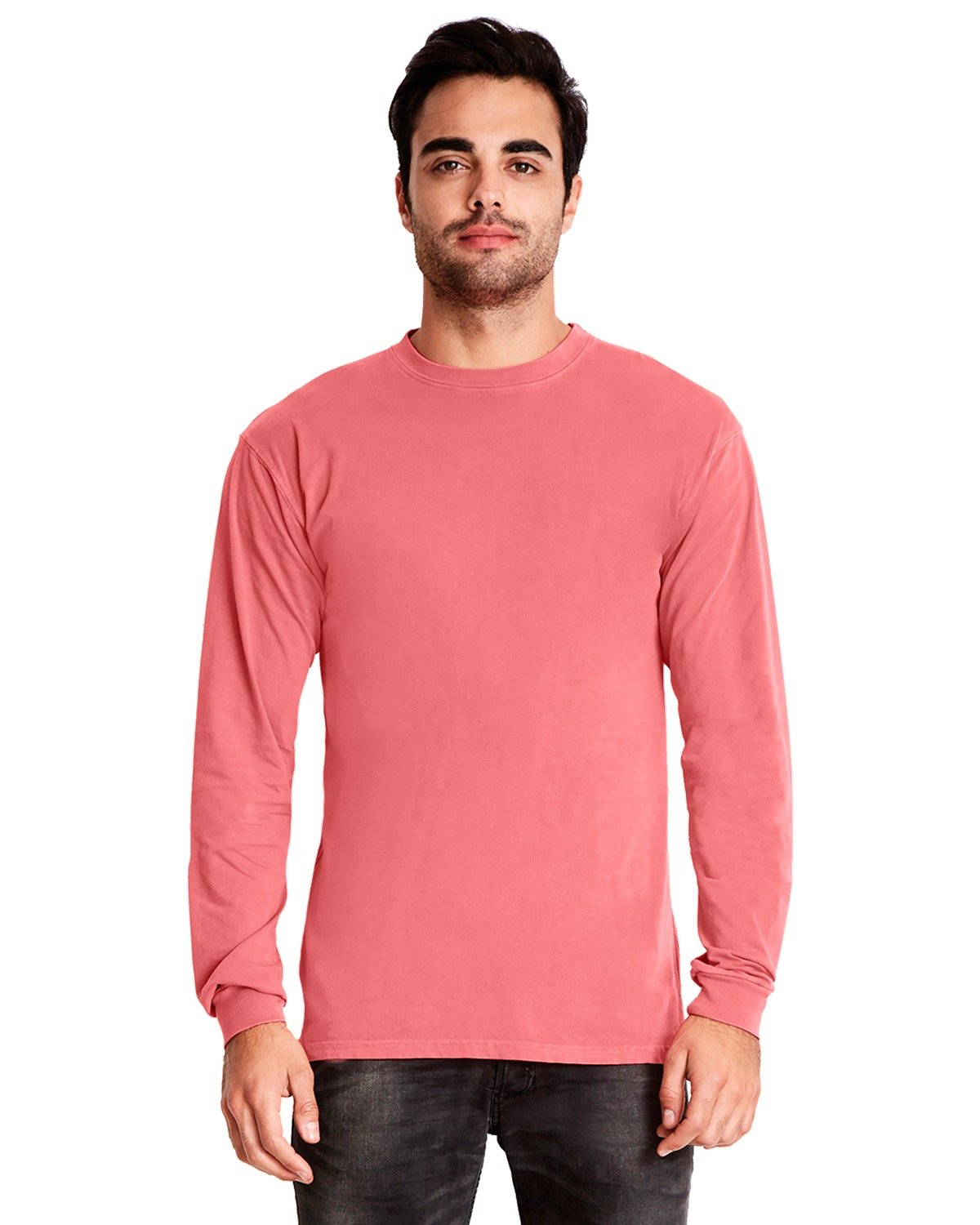 Next Level Adult Inspired Dye Long-Sleeve Crew GUAVA