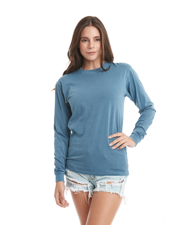 Next Level Adult Inspired Dye Long-Sleeve Crew PERI BLUE