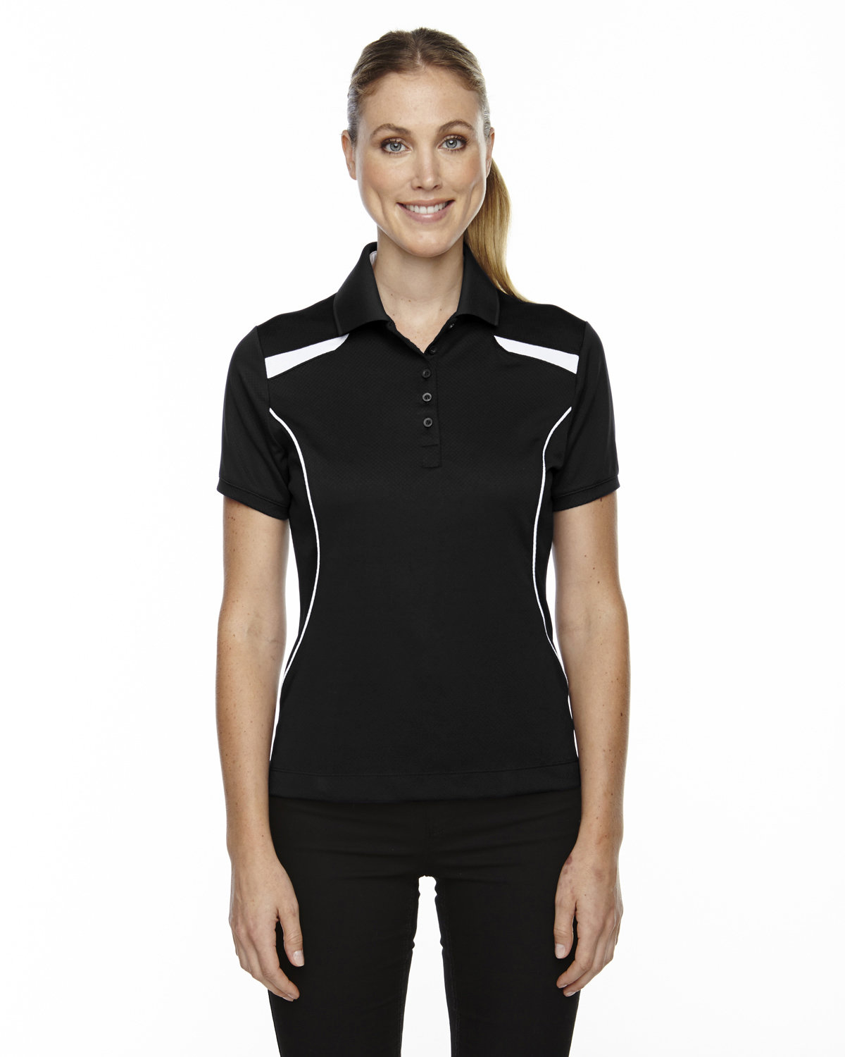 Extreme Ladies' Eperformance™' Tempo Recycled Polyester Performance Textured Polo BLACK